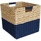 Box and Beyond Panier de Rangement en Jacinthe d'eau et Papier - Cube - Pliable - Poignées intégrées - Naturel/Bleu - 31x31x3