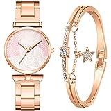 Tireow - Orologio al quarzo con diamanti d'acqua, con stella a cinque rami, cinturino in acciaio inox, quadrante semplice int