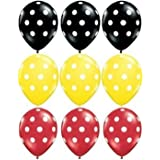 """Evisha Yellow, Black and red Polka dot Big Size 24"""" Balloons for Theme Party, Birthday Party, Party Decoration - Pack of 50"""