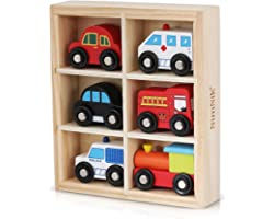 NimNik Wooden Toys Cars Bus Engine Emergency Vehicles Educational Toy for Early Learning for Toddlers Gifts for 2 3 4 5 6 7 8