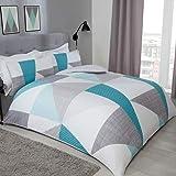 Sleepdown Splice Geometrische Teal Grey Soft Easy Care Dekbedovertrek Quilt Beddenset met kussensloop - Eenpersoons (135cm x