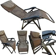 """Amaze"" Folding Zero Gravity Recliner push back easy relax portable Outdoor Indoor Sea beach swimming pool Garden Farm House Sun bed lounger Chair - 06 CK (EXTRA WIDE)"