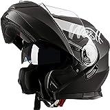 Westt Torque X - Casque Moto Modulable Double Visière pour Scooter Chopper - Casque de Moto Homme et Femme en Noir Mat…