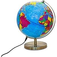 Magellan Albion Leuchtglobus politisches Kartenbild LED-Beleuchtung 25 cm Globus mit messingfarbenem Metallfuß und…