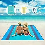Picknickdecke Wasserdichte Stranddecke, 200x200cm Tragbare Große XXL Stranddecke Sandfrei Matte Strandtuch mit Reißverschluss