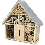 Navaris Hôtel Insecte en Bois - Cabane abri Taille M 28 x 24,5 x 7,5 cm - Maisonnette Refuge Abeille Coccinelle Papillon et A