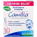 Boiron Camilia, Baby Teething Relief, 30 Doses. Teething Drops for Painful Gums, Irritability. Benzocaine and Preservative-,
