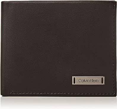 Calvin Klein Men's Smooth W Plaque Slimfold 6cc Credit Card Holder Black