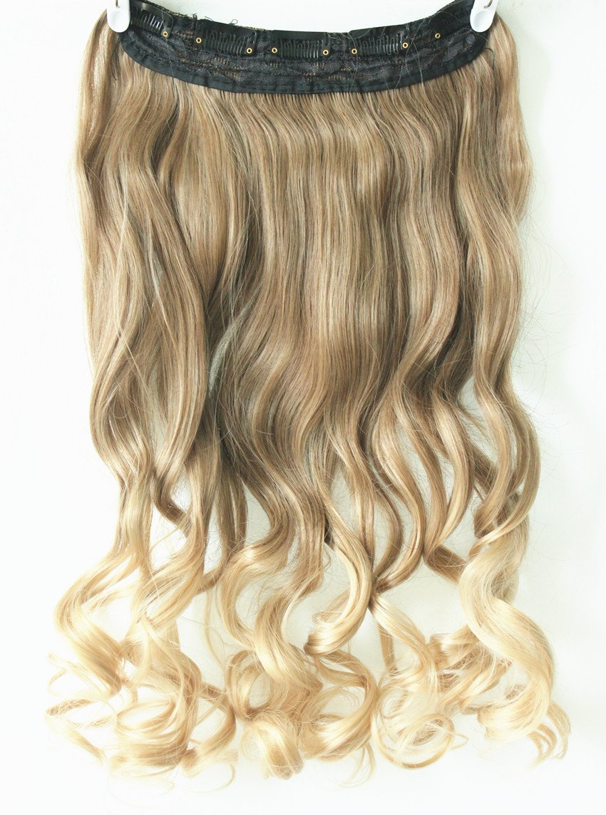 One Piece Clip In Hair Extensions 3 4 Full Head Ombre NOT Human 5 Clips 20 Curly Wavy Light Ash Brown To Sandy Blonde Amazoncouk Beauty
