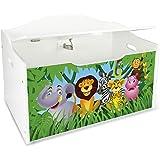 Leomark Caja de Madera XL Banco Blanco con Almacenamiento para Juguetes, Accesorios Baúl de Juguetes Tema: Zoo Animales, Dim: