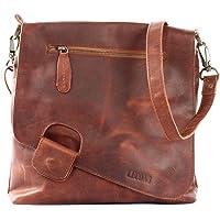 LECONI Umhängetasche Damen-Tasche Crossbag Rinds-Leder Natur Schultertasche Vintage-Look Ledertasche Frauen + Herren…