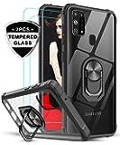LeYi Coque pour Samsung Galaxy M31 avec Verre trempé [Lot de 2], Cristal Transparente Anneau Support Militaire AIR Cushion Antichoc Protection Etui Rigide Bumper Silicone Housse Samsung M31, Noir