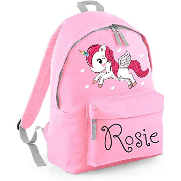 Any Name Kids Childrens Girls Back To School Bag Personalised Unicorn Backpack