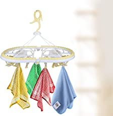 HOMIZE Plastic Clips Hanging Drying Rack Hanger for Kid's Clothes Organizer