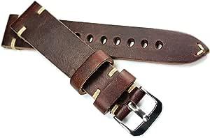 Rios Cinturino di pelle per orologio, con cuciture e fibbia, largo 20mm, di alta qualità, fattura tedesca, realizzato a mano, in stile vintage, militare o aviatore, colore: marrone scuro