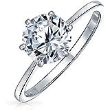 Semplice anello di fidanzamento solitario 1.25CT 6 Prong AAA CZ per donna 1MM Thin Band 14K Rose Gold Placcato 925 Sterling S