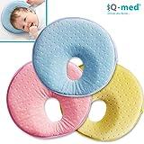 Babykissen von iQ-med® | Baby-Kissen gegen Verformung und Plattkopf | aus viskoelastischem Schaum | passt auch im Kindersitz | Kinder-Kissen, Kopf-Kissen für Säugling, Memory-Schaum (Gelb)