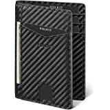 VULKIT Credit Card Holder RFID Blocking Slim Carbon Fiber Wallet Anti Scan Bank Card Holder Quick Access with 10 Slots