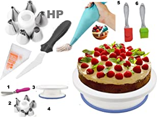 hpk Plastic Cake Decoration Tools Set with Full Rotating Round Table Accessories(5x3x7cm, Multicolour)