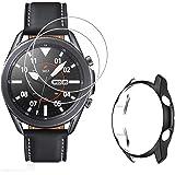 MWOOT Compatible avec Samsung Galaxy Watch 3 45MM Écran Protecteur [2 Pièces] et Coque Protection en Silicone, Anti-Rayures V