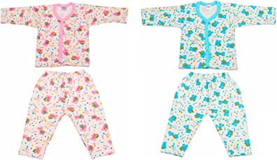 Littly Front Open Kids Printed Thermal Top & Pyjama Set for Baby Boys & Baby Girls, Pack of 2 (1 Blue, 1 Pink)
