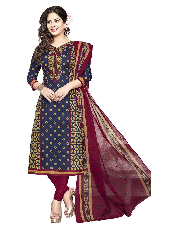 530d64eb7 Jevi Prints Women's Unstitched Pure Cotton Blue & Maroon Block Print Dress  Material (S-1250)