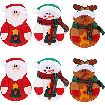 Deggodech 6 Pezzi Argenteria Tasche Posate da Cucina Natale Forchetta e  Coltello Decorazione Pupazzo di Neve Renne Babbo Natale Tavolo Coltello da  Natale e ... 3417c01e4560