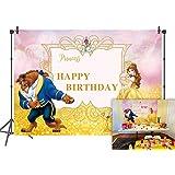 Daniu 7x5FT Feliz cumpleaños Belleza y la Bestia Fondo Foto Props Personaje de Dibujos Animados Pincess Animal Salvaje para n