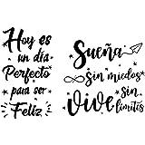 2pcs Pegatinas Pared Vinilos Frases Letras Motivadoras Español Stickers Adhesivos Negro Decoración Habitación Dormitorio Saló