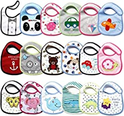 BRANDONN Newborn Premium Quality Cotton Assorted Design Colorful Baby Bibs-(Fast Dry; Pack of 2)