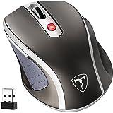 VicTsing Mini Schnurlos Maus Wireless Mouse 2.4G 2400 DPI 6 Tasten Optische Mäuse mit USB Nano Empfänger Für PC Laptop, Microsoft Pro, Office Home- Grau
