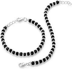 Shiyara Jewells 92.5 Sterling Silver Black Bead Crystal Nazariya Bracelet for Boys and girls - Set of 2