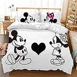 Mickey /& Minnie Mouse Bettw/äsche-Set Disney-Charaktere Bettbezug weich 1,135 x 200 Bettbezug /& Kissenbez/üge antiallergisch 3-teilig Geschenk f/ür Kinder Jungen