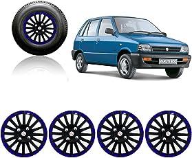Autopearl - Premium Quality Car Black and Blue Wheel Cover Caps 12 Inch Press Type Fitting For - Maruti Suzuki 800