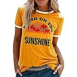 CMTOP T Shirt Femme, Manche Courte Vintage, Blouse Femme Impression de Mode, Top Col Rond Femme Chic, Chemise Manche Courte S