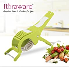 Floraware 2 in 1 Stainless Steel 5 Blade Vegetable Cutter with Peeler, Green