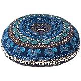 GANESHAM Indian Mandala tapijt, ronde zitplaatsen mandala-kussen, meditatie-kussensloop, handgemaakte kussenbijlage, rond man