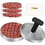 FAVIA Presse à Burger Antiadhésive en Aluminium avec 100 Disques de Cire, Moule à Steak de Viande avec Sécurité Alimentaire p
