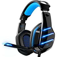 Gaming Headset für PS4 PS5 PC Xbox One, PS4 Headset mit Mikrofon Surround Bass Sound Kopfhörer Noise Cancelling LED…