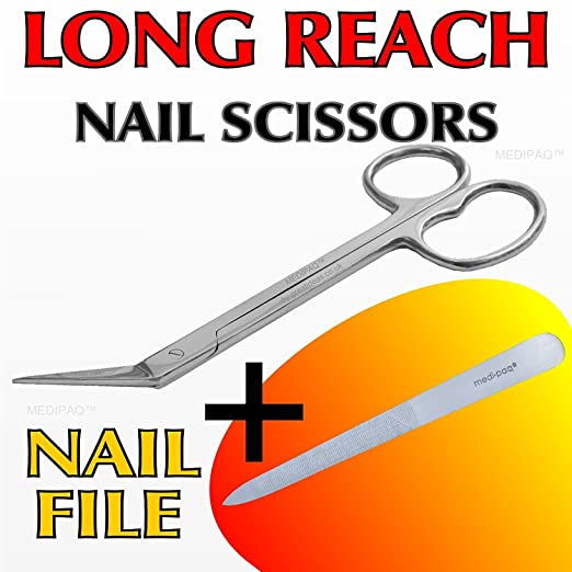 Medipaq Extra Long Toe Nail Chiropody Scissors Plus Nail File No More Reaching and Straining 1x Scissor and 1x Nail File: Amazon.co.uk: Health & Personal ...