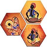 MAHAGAURI ART & SIGN Wood rajasthani Musicians Printed Poster, multicolour, Rajasthani Musicians, Standard