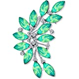 Bling Jewelry Fashion Large Aqua Green Marquise Crystal Statement Leaf Brooch Pin for Women for Mother Silver Plated Brass