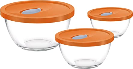 Treo Mixing Bowl Set with Lid, 3Pcs (1.5 Ltr, 1 Ltr, 0.5 Ltr)