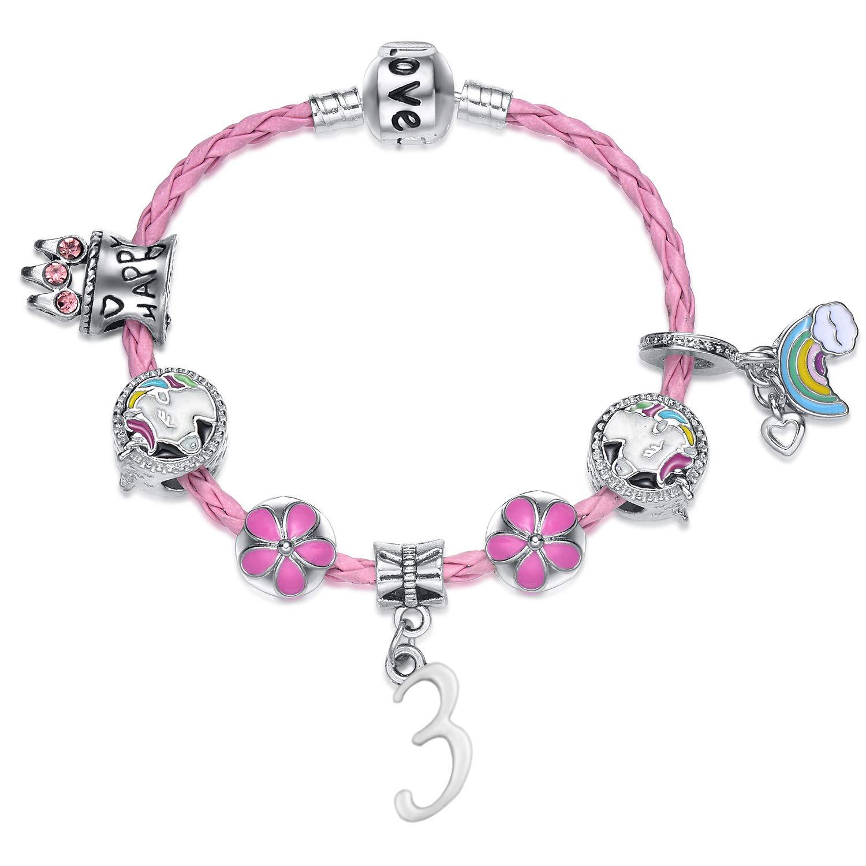 Girls Happy Birthday Unicorn Bracelet, Pink Unicorn Charm Bracelet Jewellery Gifts for Girls