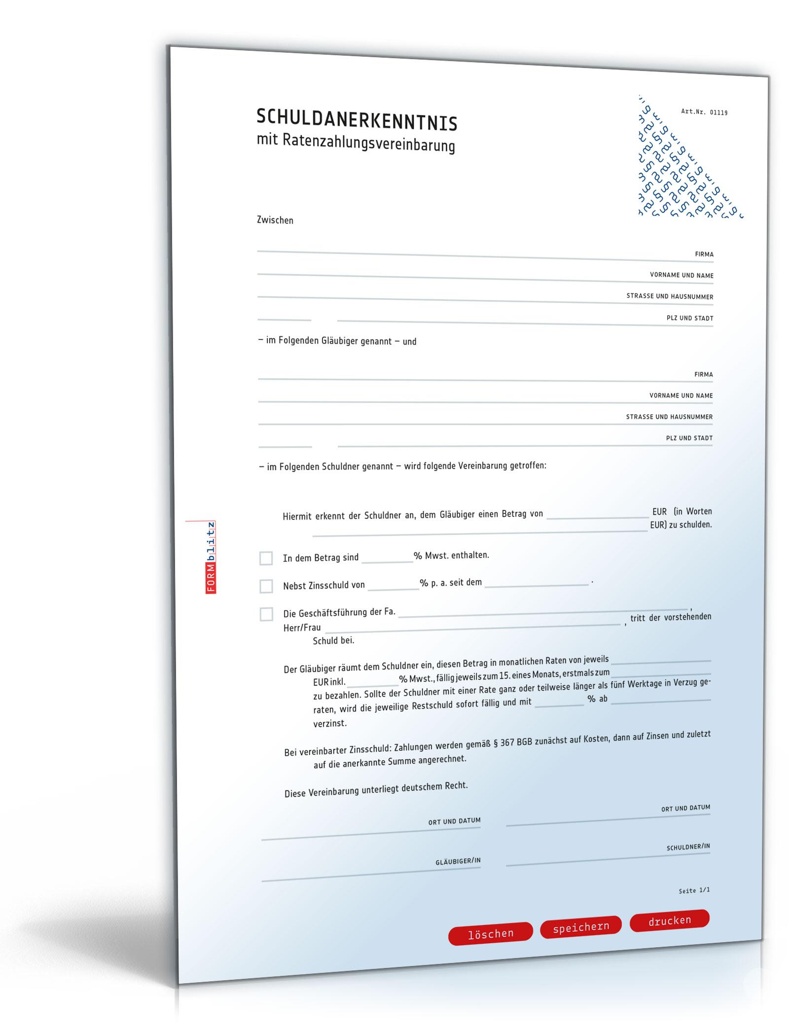 Schuldanerkenntnis mit Ratenzahlungsvereinbarung (PDF) [Download]
