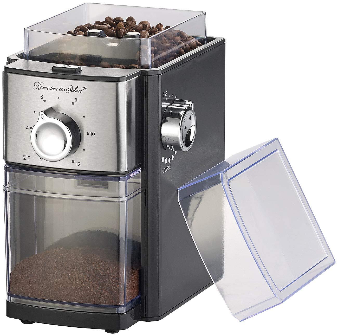 Rosenstein & Söhne Kaffemühlen: Elektrische Kaffeemühle, Scheibenmahlwerk, für 250 g Bohnen, 150 Watt (Espresso-Mühle)