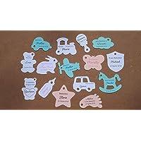 ArtigianeriA - Set di n°10(o più) ETICHETTE in cartoncino con GIOCATTOLI o SOGGETTI INFANTILI, per realizzare BOMBONIERE…