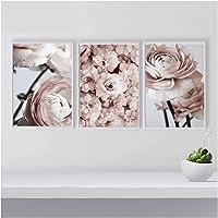 xwlljkcz 3 Stück Rosa Pfingstrose Blume Leinwand Malerei Nordic Wandkunst Bilder Modulare Gemälde Poster und Drucke Für…