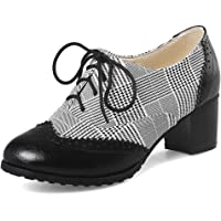 cynllio Women's Vintage Wingtips Lace up Oxfords Brogues Shoes Mid Chunky Heels Pumps Perforated Dress Saddle Shoes