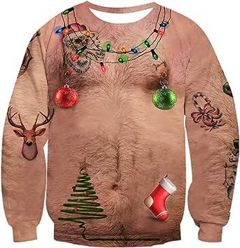 NEWISTAR Unisex Weihnachtpullover 3D Herren Damen Pullover Weihnachten Jumper Tops Sweatshirts Bluse S-3XL
